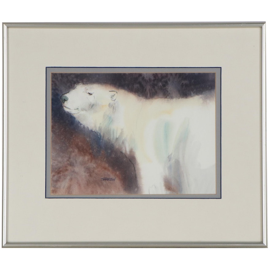 Watercolor Painting of Polar Bear, Late 20th Century