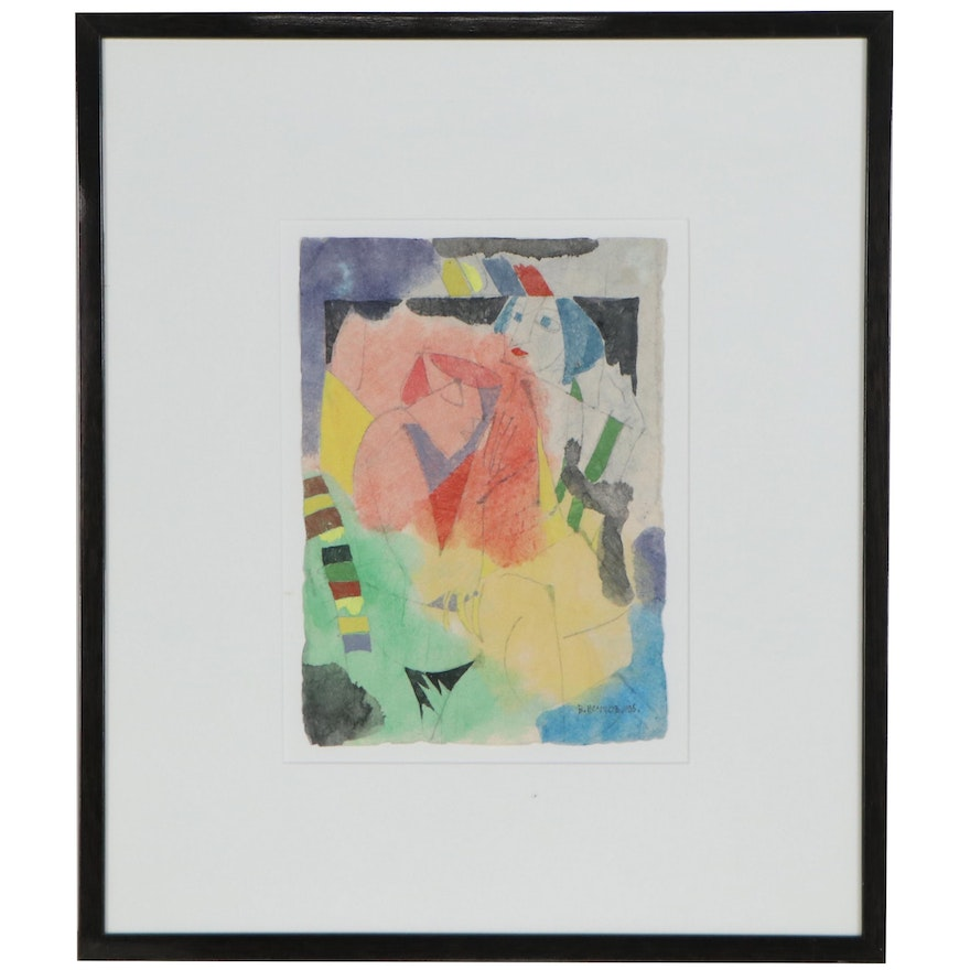 Abstract Mixed Media Painting of Two Figures, 1995