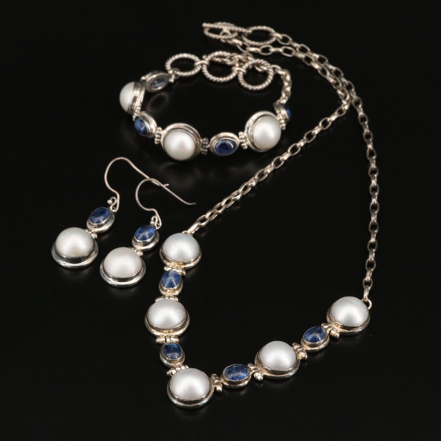 Sterling Silver Pearl and Kyanite Jewelry Set
