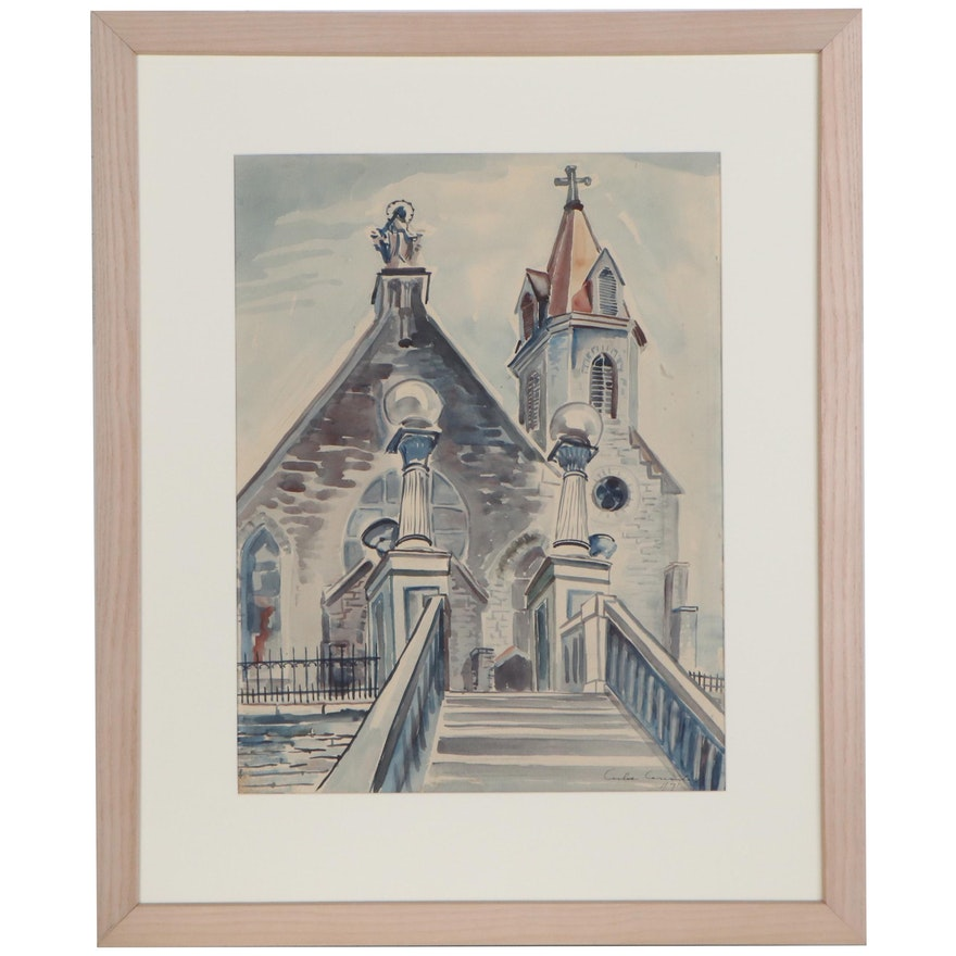 Carlos Cervantes Watercolor Painting of Church, 1947