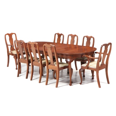 "Henkel-Harris ""Virginia Galleries"" Queen Anne Style Black Cherry Dining Set"