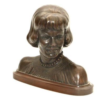 Barney Bright Bronze Bust of Nancy Batson Nisbet Rash