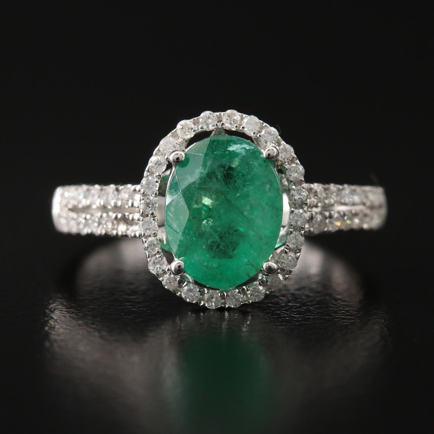 14K 1.50 CTW Emerald and Diamond Halo Ring