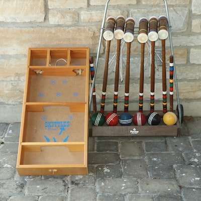 Forster Outdoor Croquet Set and Carrom Skittles Tabletop Game