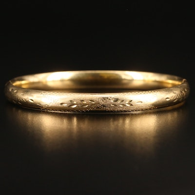 14K Hinged Bangle Bracelet with Engraved Patterns