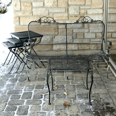 Outdoor Metal Mesh Settee, Accent Table and Nesting Tables