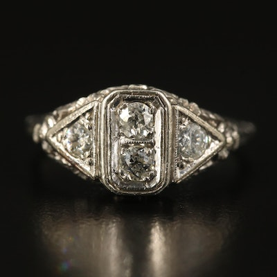 Edwardian Inspired 14K Diamond Open Flower Ring