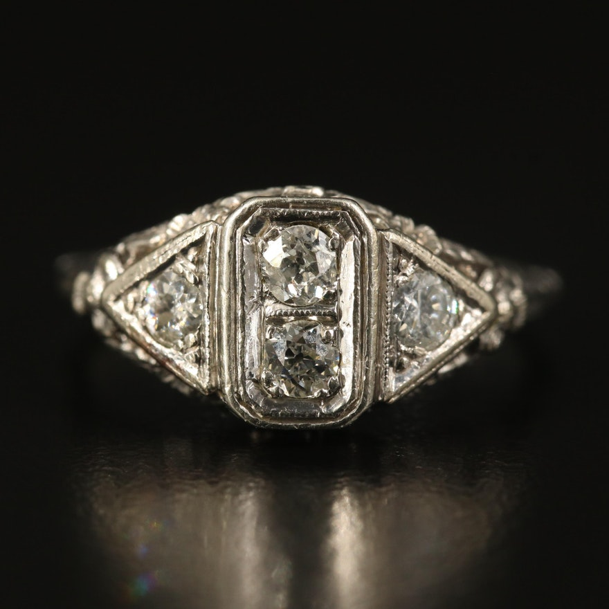 Edwardian Inspired 14K Diamond Open Flower Ring