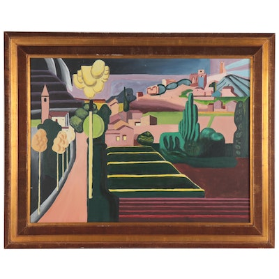 Abstract Geometric Cityscape Oil Painting, Late 20th Century