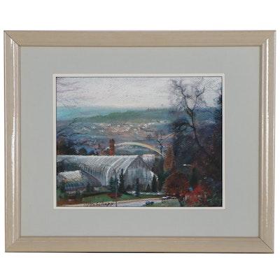 Joanne Honschapp Pastel Landscape Drawing of Cincinnati, Late 20th Century