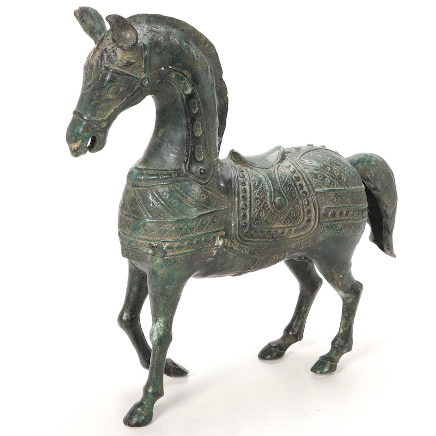 Bronze Grecian Style Horse Figurines, Late 20th to 21st Century