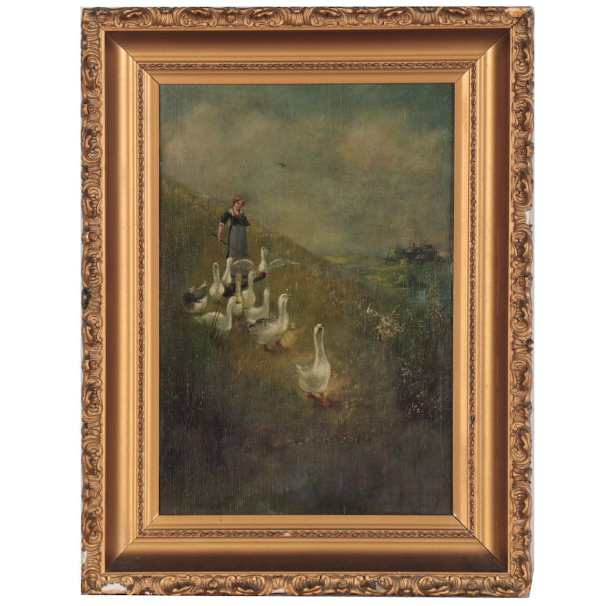 Oil Painting of Geese and Girl, Early to Mid 20th Century