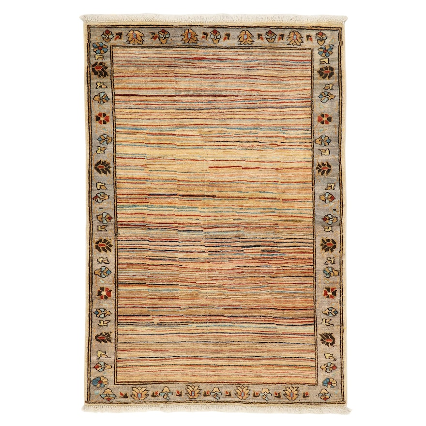 3'5 x 5'1 Hand-Knotted Afghan Gabbeh Area Rug