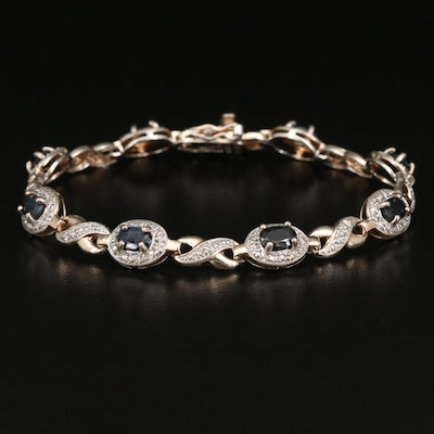 Sterling Silver Corundum and Diamond Link Bracelet
