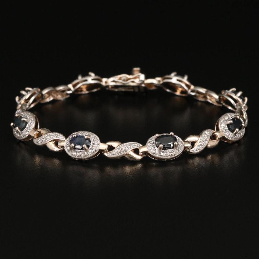 Sterling Silver Corundum and Diamond Link Bracelet