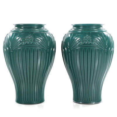 Pair of Green Molded Glass Floor Vases