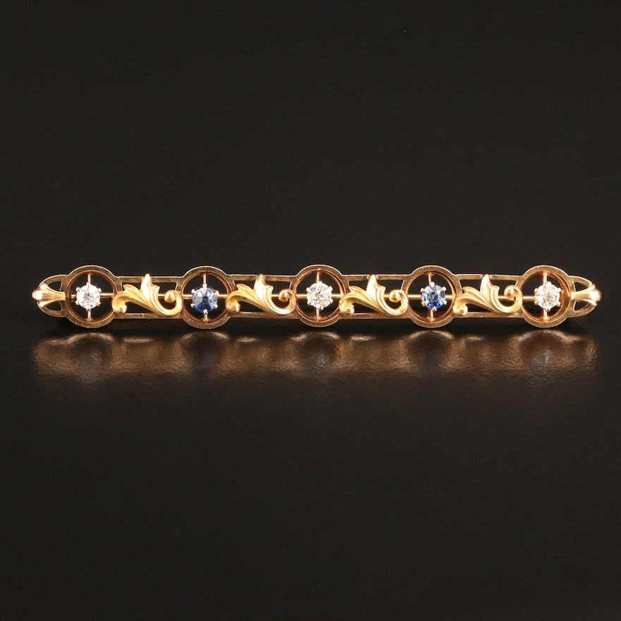 Art Nouveau 14K Sapphire and Diamond Bar Brooch with Foliate Pattern