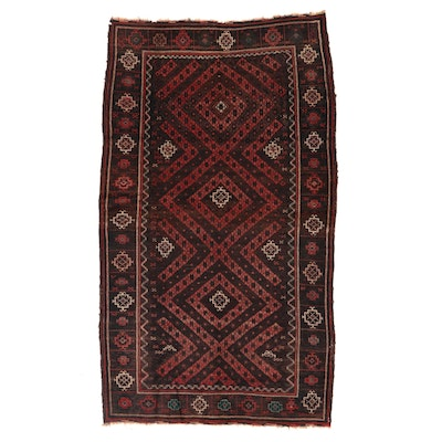 4'6 x 7'10 Hand-Knotted Afghan Baluch Tribal Area Rug, Early 20th Century