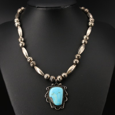 Western Sterling Bench Bead Necklace with Turquoise Pendant