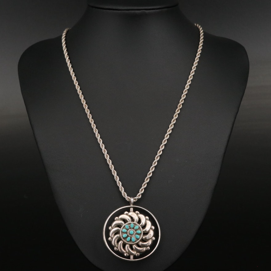 Sterling Spinner Pendant Necklace Featuring Turquoise and Coral