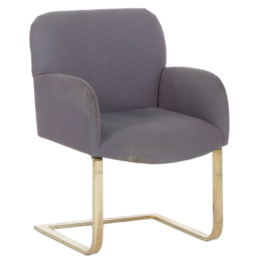 Thayer Coggin Modernist Steel Frame Cantilevered Armchair