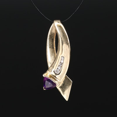 14K Amethyst and Diamond Slide Pendant