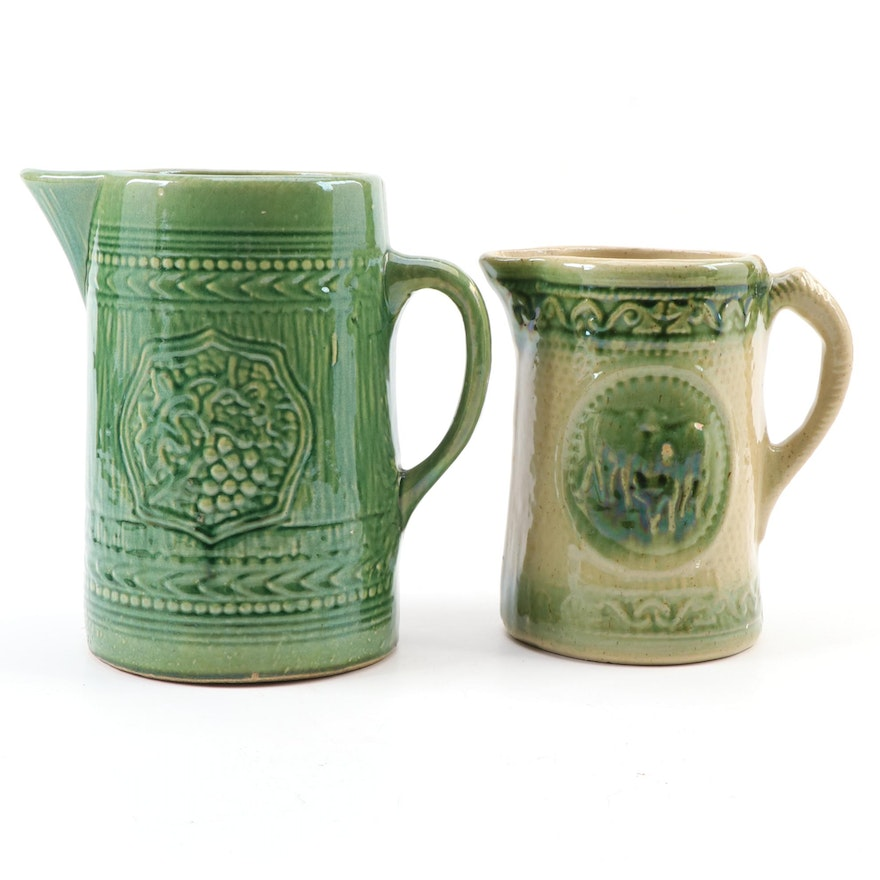 Green Salt Glazed Cow and Bull and Grape Pitchers, Late 19th to Early 20th C.
