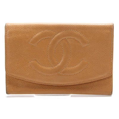Chanel CC Caviar Leather Flap Wallet in Camel