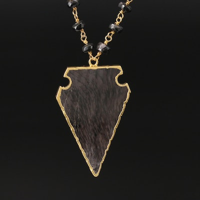 Sterling Silver Hypersthene and Spinel Arrowhead Necklace