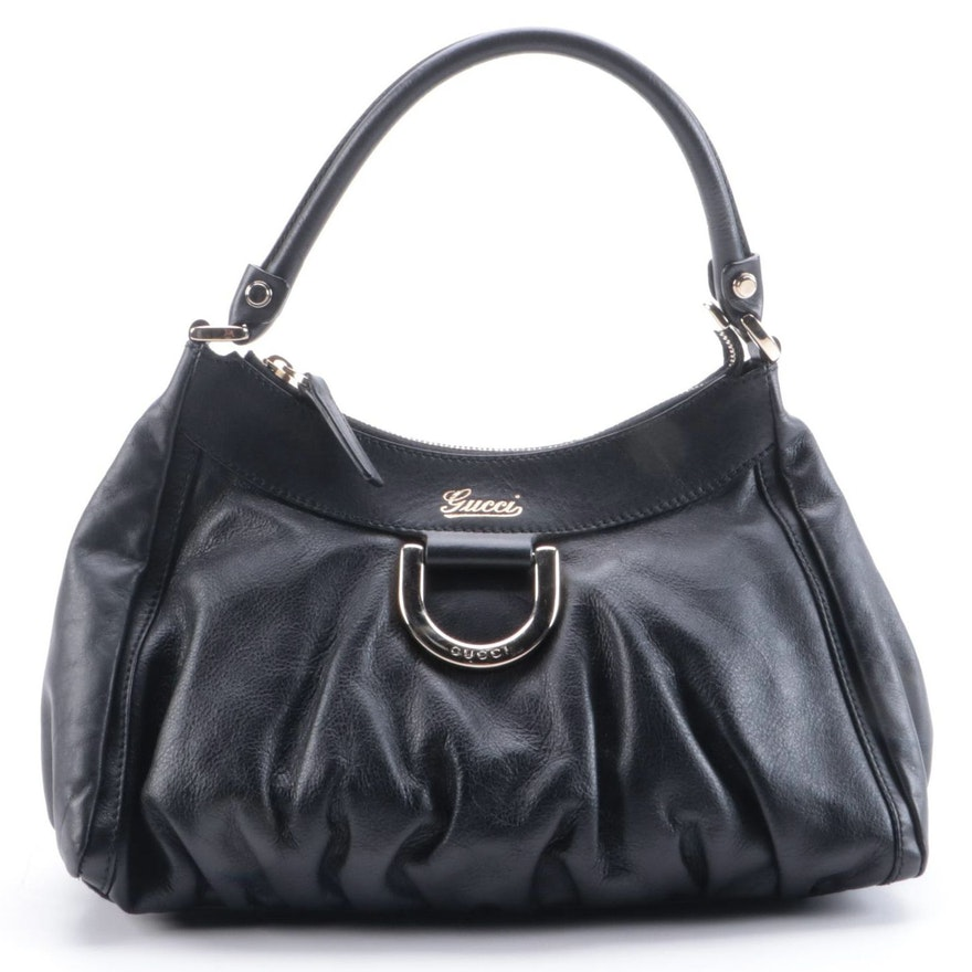 Gucci D-Ring Black Leather Hobo Bag