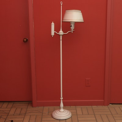 Toleware Cream Converted Oil Floor Lamp, Mid to Late 20th Century