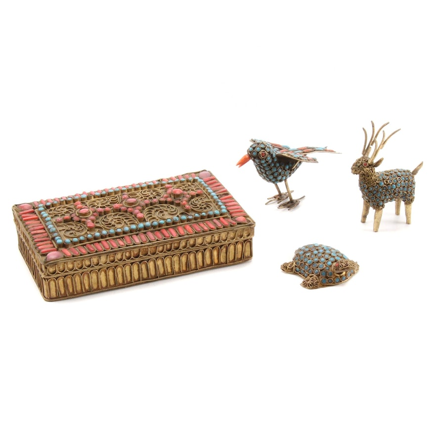 Tibetan Style Brass with Glass Bead Inlay Animals Figurines and Box