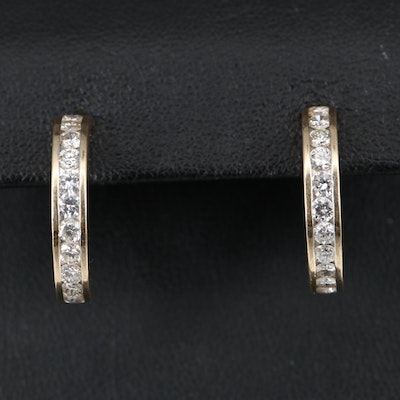 14K 1.43 CT Diamond Half Hoop Earrings