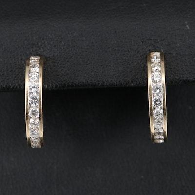 14K 1.43 CT Diamond Half Hoop Earrings