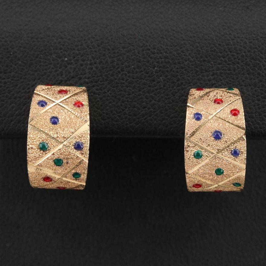 14K Enamel Textured Half Hoop Earrings