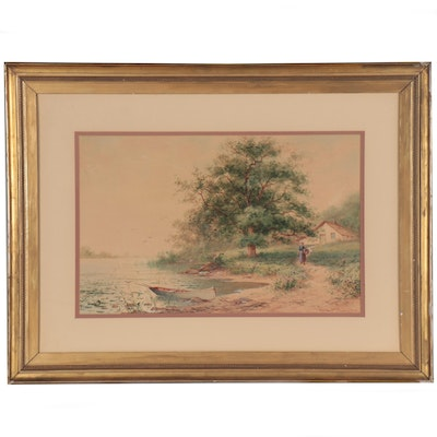 George F. Schultz Landscape Watercolor Painting, Early 20th Century