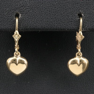 14K Puff Heart Earrings