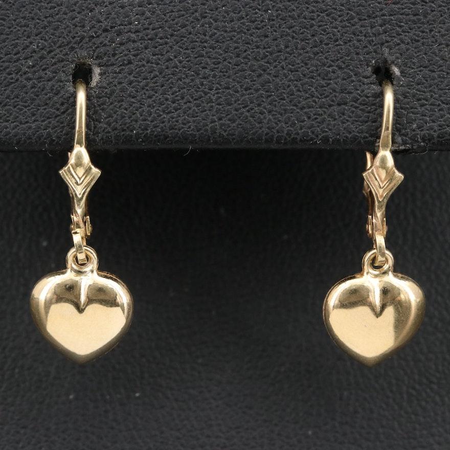 14K Puff Heart Earrings