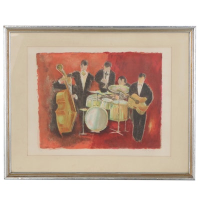 Tony Agostini Lithograph of Musicians, Late 20th Century