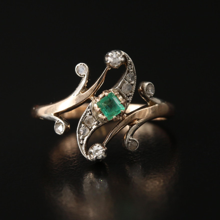 14K Emerald and Diamond Ring with Sterling Accent