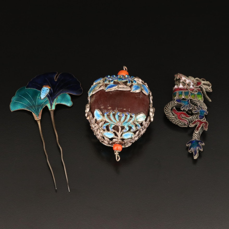 Chinese Enamel Ginkgo Hair Pins with Wood and Coral Pendants