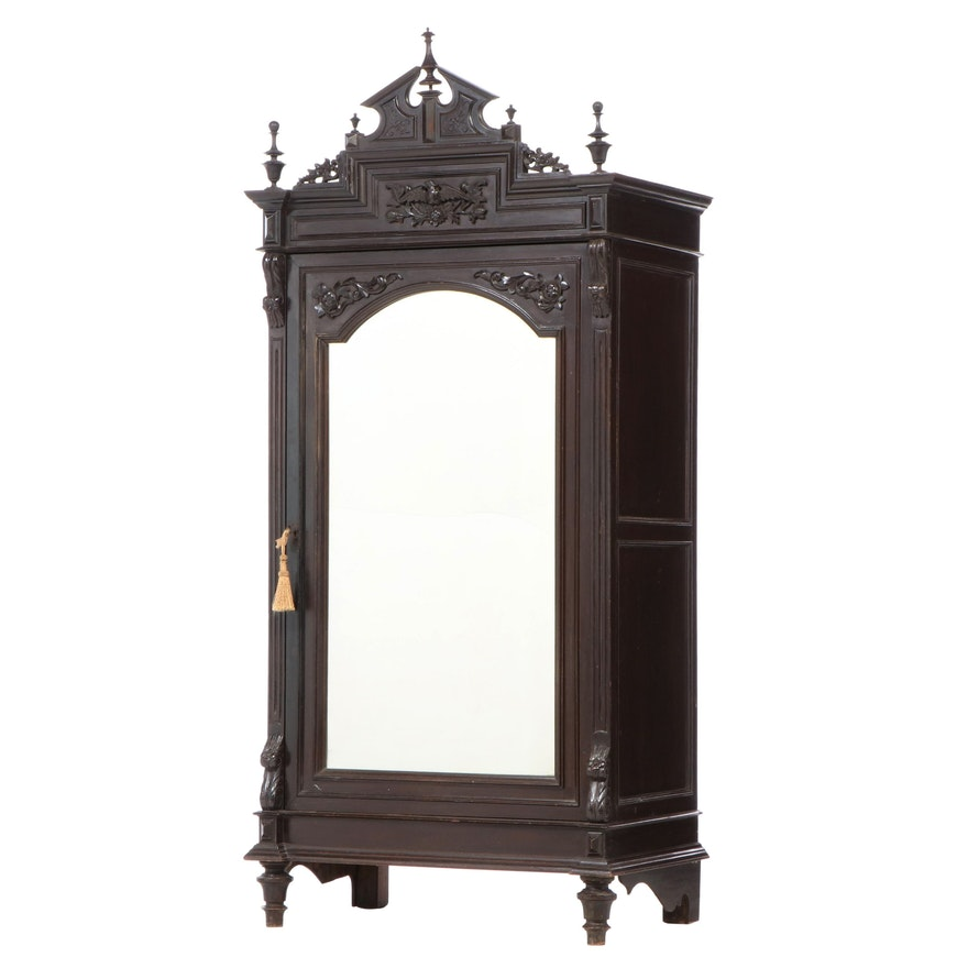 Napoleon III Carved Fruitwood Armoire à Glace, Late 19th Century