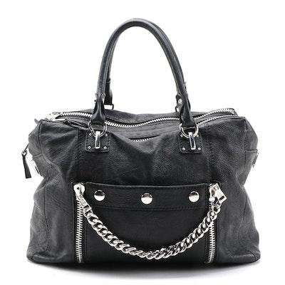 ASH Black Leather Convertible Satchel