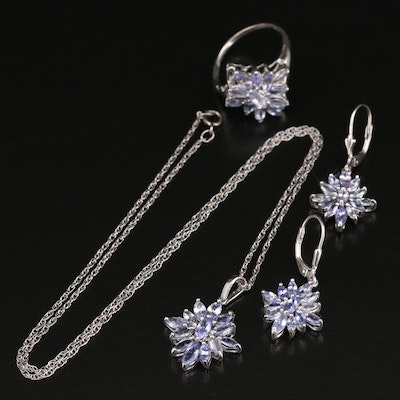 Sterling Silver Tanzanite Demi-Parure