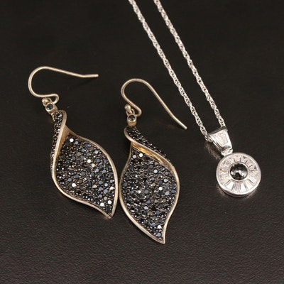 Stauer Sterling Diamond and Cubic Zirconia Necklace and Earrings