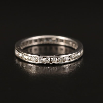 18K Channel Set Diamond Milgrain Eternity Band