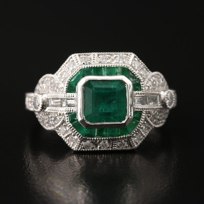 Platinum Emerald and Diamond Ring with 1.12 CT Center Stone