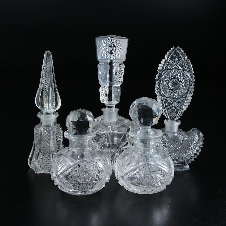 Cut and Pressed Glass Patterned Perfume Bottles