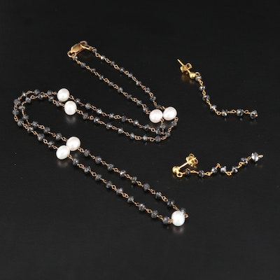 Gold Filled Black Diamond and Pearl Necklace with Drop Earrings and 14K