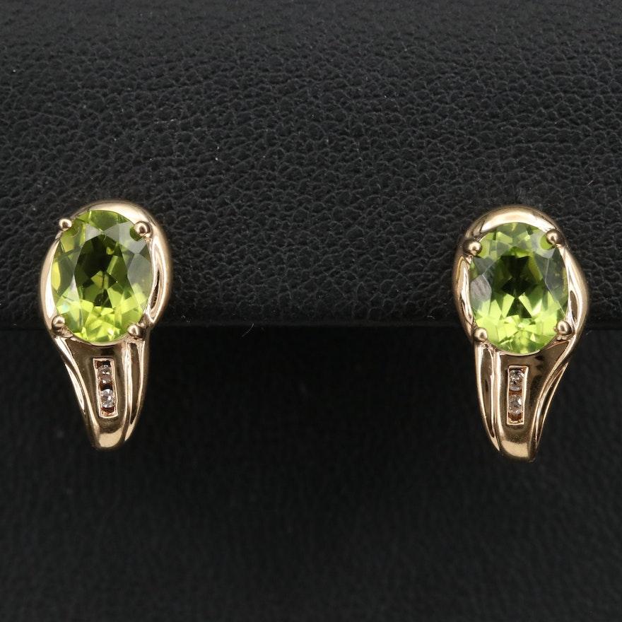 10K Peridot and Diamond Earrings